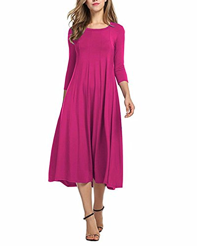 Bohistyle BONESUN Women's 3/4 Sleeve A-Line Pleated T-Shirt Tunic Midi Swing Dress Rose 2XL