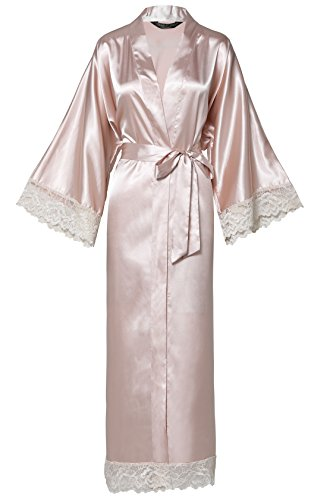 (BABEYOND Womens Satin Kimono Robe Long Bridesmaid Wedding Robes for Bachelorette Party Bath Robe Nightgown Sleepwear with Lace Trim 52
