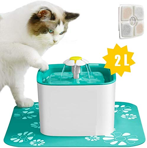 Callas Automatic Pet Water Fountain/Water Dispenser with Water Purifier Filter & 1 Silicone Mat for Cats and Dogs (White; Pack of 1; 2 LTR)