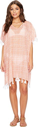 Hat Attack Women's Mid Length Lightweight Cover-Up Salmon/White One Size
