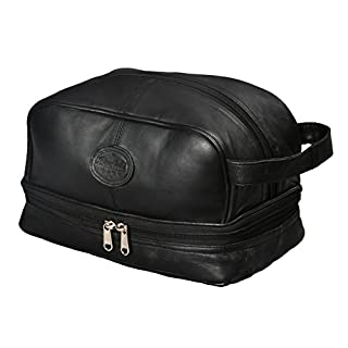 Mens Toiletry Bag Shaving Dopp Kit for Travel by Bayfield Bags (Black) Men's Shower Bag for Toiletries | Travel a lot? This Bag is for You | Bottom Storage Holds More