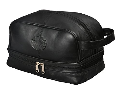 Leather Vanity Case - Mens Toiletry Bag Shaving Dopp Case for Travel by Bayfield Bags (Black) Men's Shower Bag for Bathroom Hygiene. Holds Beard Trim Kit Accessories and Body Shavers.