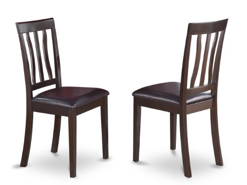 East West Furniture ANC-CAP-LC Dining Chair Set with Faux Leather Seat, Cappuccino Finish, Set of 2