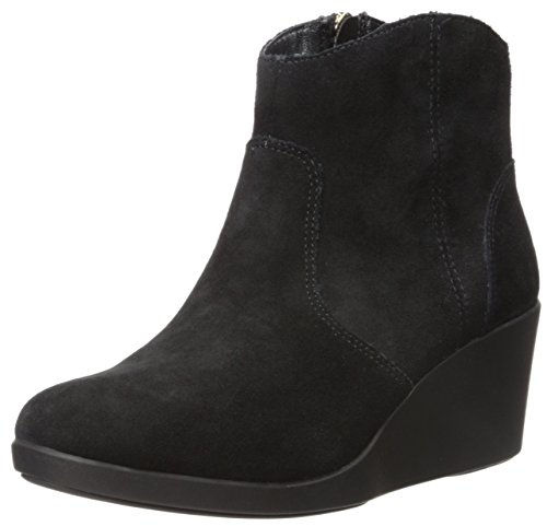 crocs Women's Leigh Suede Wedge Boot, Black, 8 M US