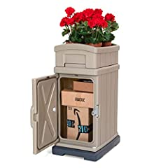 The Hide Away Parcel Box with Planter is a sturdy and attractive home package delivery box with traditional styling that compliments homes while protecting and securing oversized deliveries. Heavy duty magnetic cabinet door closes securely to...