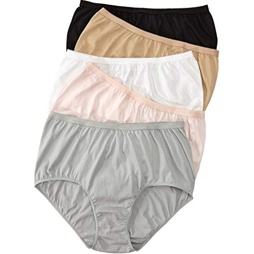 - Comfort Choice Women's Plus Size 5-Pack Pure Cotton Full-Cut Brief - Basic Pack, 9