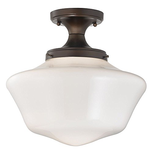 120v Line Voltage Round Canopy (14-Inch Wide Schoolhouse Ceiling Light in Bronze Finish)