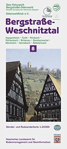 Topographische Freizeitkarten Hessen 1:20000. Naturpark Bergstrasse-Odenwald. Sonderblattschnitte auf der Grundlage der Topographischen Karte 1:25000 ... (1 : 20.000), Bl.8, Bergstraße, Weschnitztal
