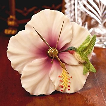 (Hummingbird & Hibiscus Clock - Hand Painted Flower Clock By Ibis & Orchid Designs)