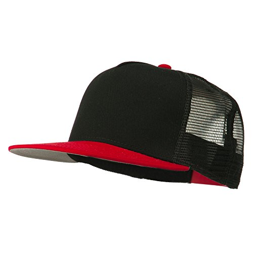 Otto Caps 5 Panel prostyle Trucker Caps - Red Black Black OSFM