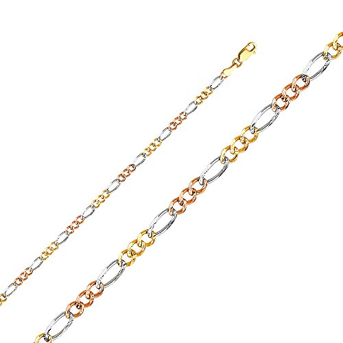 14k Tri Color Gold Solid Men's 3.5mm Figaro 3+1 Concave Chain Bracelet with Lobster Claw Clasp - 7