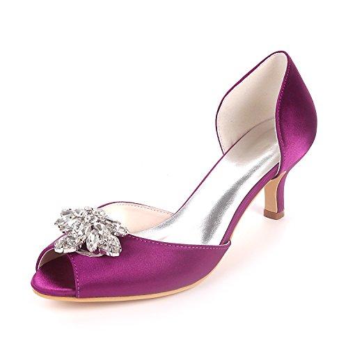 Court Wedding Satén Shoes Party Toe Diamantes Sandalias Bombas UK3 Peep Talones Medio De Ager 03K EU36 Imitación Flower Piedras Y1195 De Purple Mujeres qgUwaaZ