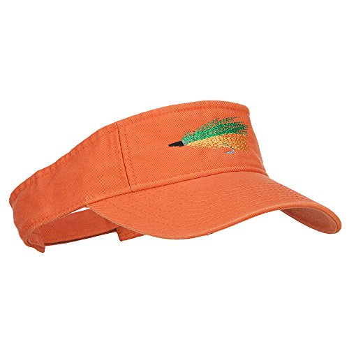 Green Fly Fishing Embroidered Pro Style Cotton Washed Visor - Orange OSFM by e4Hats.com (Image #3)