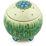 Polish Pottery Soccer Ball Jar 4-inch Prairie Land UNIKAT