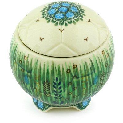 Polish Pottery Soccer Ball Jar 4-inch Prairie Land UNIKAT by Polmedia Polish Pottery