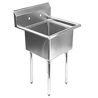 Gridmann 1 Compartment NSF Stainless Steel Commercial Kitchen Prep & Utility Sink - 23.5 in. Wide