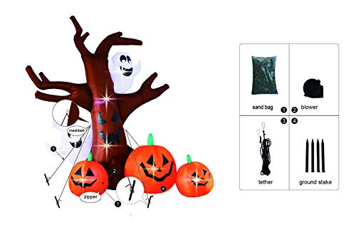 Bigjoys 8 Ft Halloween Inflatable Tree with Ghost Pumpkin Decoration for Indoor Outdoor Home Yard Party by Bigjoys (Image #3)