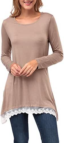 Zattcas Womens Assymetrical Top, Lace Hem Long Sleeve Trapeze Tunic Top