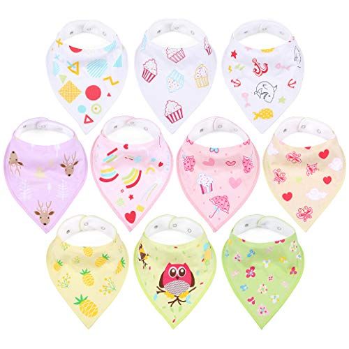 - Baby Bibs for Girls, Multipack Bandana Stay-Dry Triangle Bibs for Mealtime Feeding, 2 Snaps, Unique Prints, Stain and Odor Resistant, Highly Absorbent & Soft Shower Gift Set for Drooling and Teething