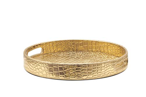 Glossy Gold Dia 13.5'' Round Croc PU Leather Decorative Ottoman Coffee Table Serving Tray Catchall Tray For Perfume Jewelry Dresser Bathroom Vanity By Decor Trends (1, 1 Gold)