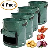 Abenkle Potato Grow Bags with Flap, 4 Pack Garden Planter Bags Potato Growing Bag Planter Bags Planting Pouch with Flap and Handles Heavy Duty Suitable for Potato, Carrot, Tomato, Onion