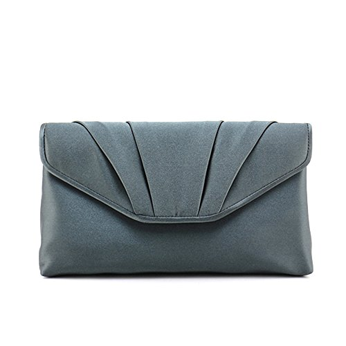 Iber Bolsos Satin Face Wedding Bridal Prom Evening Handbag Clutch Bag 12i0110 (dark gray)