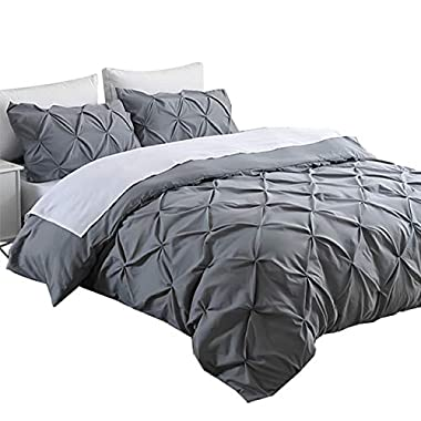 Ucharge Unique Pinch Pleat Pintuck Duvet Cover Set,3 Pieces Decorative Stylish Brushed Microfiber Bedding Set With Zipper and Corner Ties (King Grey)