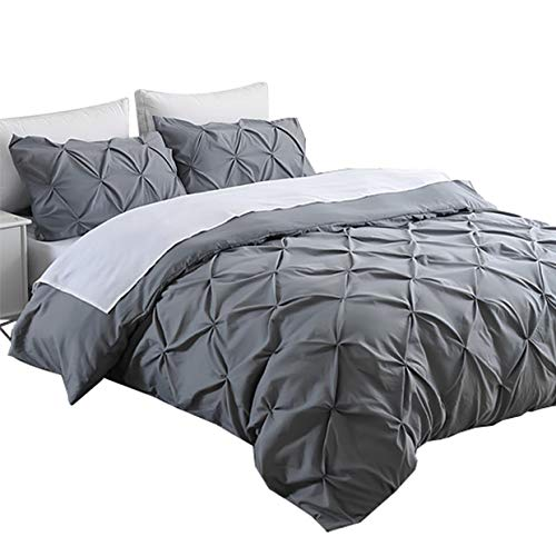 Ucharge Unique Pinch Pleat Pintuck Duvet Cover Set,3 Pieces Decorative Stylish Brushed Microfiber Bedding Set With Zipper and Corner Ties (King Grey) (Puckering Duvet Cover)