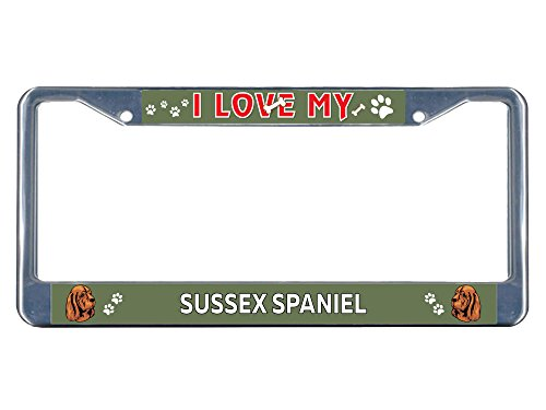 Sign Destination Metal License Plate Frame Solid Insert Sussex Spaniel Dog I Love Car Auto Tag Holder - Chrome 2 Holes, Set of 2