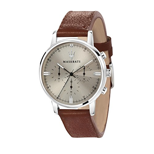 MASERATI Men's 'Eleganza Quartz Stainless Steel and Leather Fashion Watch, Color:Brown (Model: R8871630001