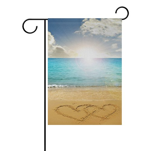 LORVIES Drawn Hearts In Beach Polyester Garden Flag Outdoor