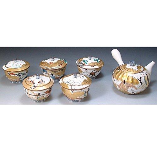 Kiyomizu-kyo yaki ware. Set of Japanese yunomi teacup and kyusu teapot genjimonogatari with wooden box. Porcelain. kymz-JIG033