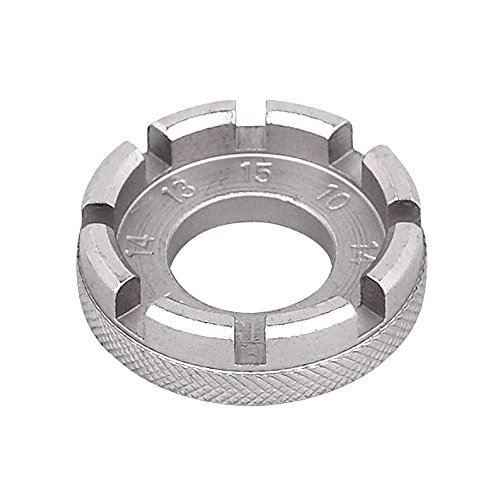 Cycling Bicycle Forged Round Bike Wheel Spoke Wrench Tool Bicycle Mini Repair Tool, 6 Sizes in One, 8 Way Steel Spoke Nipple Key Wheel Rim Wrench Spanner Adjuster Tool Kit for Bicycles Motorcycles