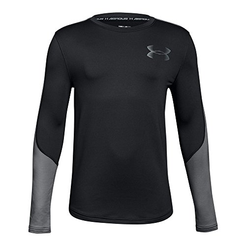 Under Armour Boys ColdGear Crew, Black (001)/Graphite, Youth Large Boys Coldgear Long Sleeve