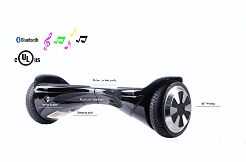 SAVA X1 - UL Certified 2272 Self BalancingScooter/Hoverboard with Bluetooth Speaker LED Lights Free Carry Case Firesafe Battery (Black, 8) by SAVA