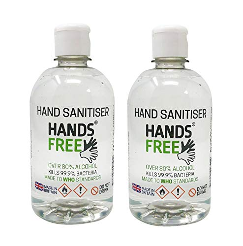 2x500ml 80% Alcohol Hand Sanitiser Liquid by Hands Free – Hospital Grade Antibacterial Formula Kills 99.9% of Bacteria…