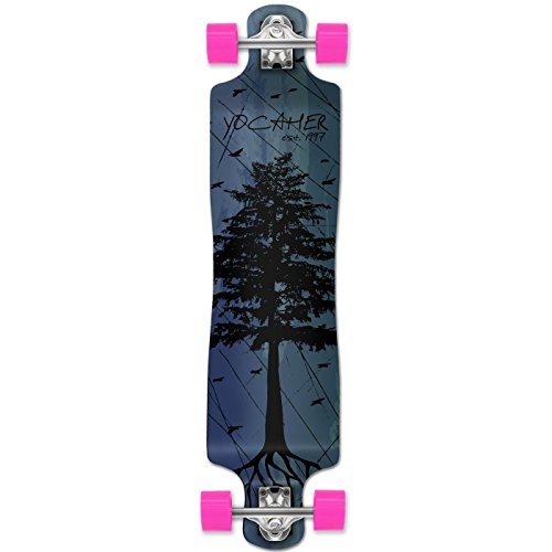 (Yocaher in The Pines Blue Longboard Complete Skateboard - Available in All Shapes (Lowrider))