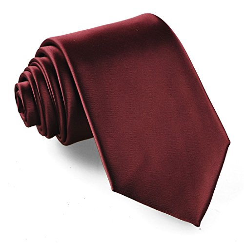 Fortunatever Classical Men's Solid Necktie With Gift Box (Burgundy Red) (Classical Tie)