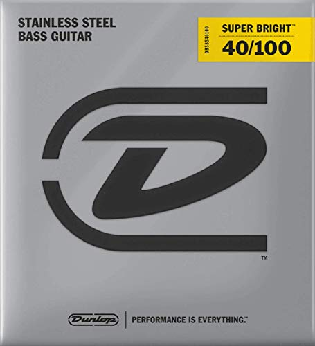 Dunlop DBSBS40100 Super Bright Bass Strings, Stainless Steel, Light, .040-.100, 4 Strings/Set