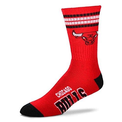 For Bare Feet NBA 4 Stripe Deuce Crew Men Socks-Chicago Bulls-Large - Stadium Bulls Chicago