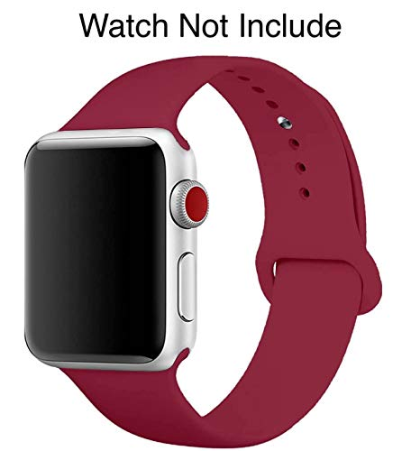 LineOn Soft Silicone Sport Strap Band for iWatch 42mm / 44mm Apple Watch Series 1/2/3/4/5 (Maroon)