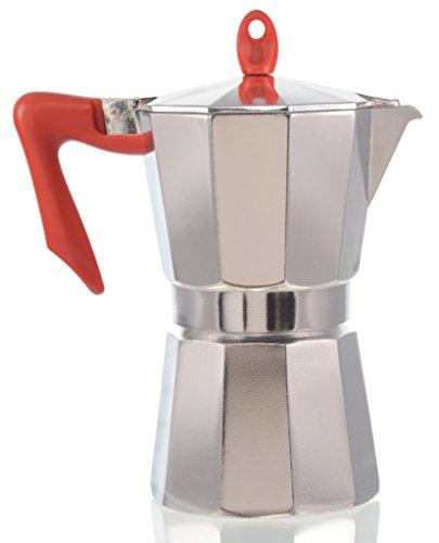Pedrini Italy Polished Aluminium Stovetop Espresso Maker - Red Handle & Chrome Body, available ...