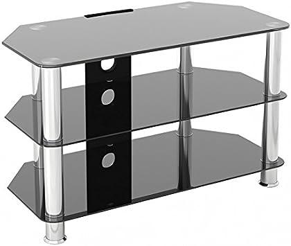 King Mesas de TV de Cristal, de Cristal Negro Gabinete Mueble ...