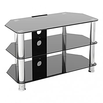 King Universal Black Glass Tv Stand 80cm Suitable Up To 42 Inch For