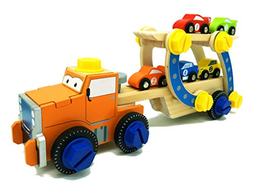 May & Z Wooden Vehicle Playset, Building Race Car Carrier Truck and Cars, Wood Tractor Toy Car Loader with 5 Race Cars (49Pcs)