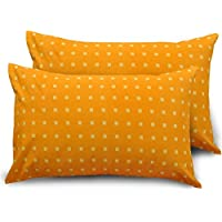 Ahmedabad Cotton 2 Piece 144 TC Cotton Standard Pillow Cover/Case Set - Orange