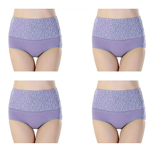 High Waist Tummy Control Panties for Women, Cotton Underwear No Muffin Top Shapewear Brief Panties (4 Pack-Light Purple, X-Large) (Cotton Brief Control Light Tummy)
