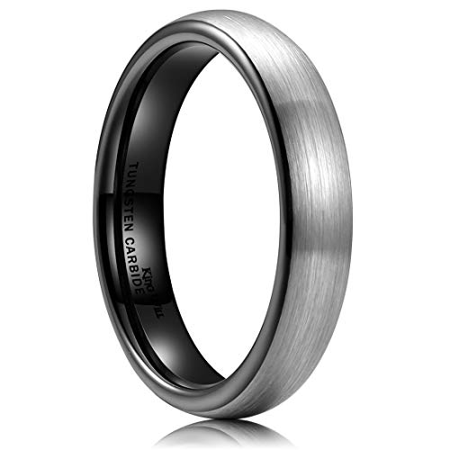 King Will Basic Men 4mm Black Tungsten Carbide Ring Wedding Band Domed Brushed Finish 9.5 4 Mm Brushed Band