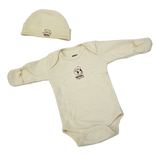 Baby Mink 100% Organic Cotton 2 Piece Newborn Set - Long Sleeve Onesie & Cap