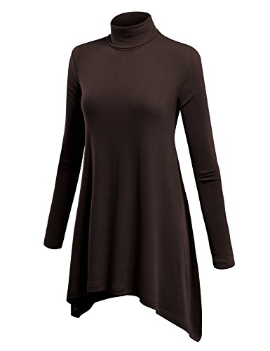 (WT994 Womens Turtleneck Sweater Tunic with Shark Hem L Brown)